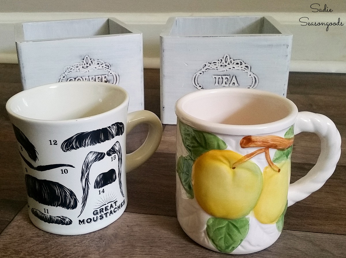 Building the coffee gifts and tea gift sets with mugs that came from the thrift store