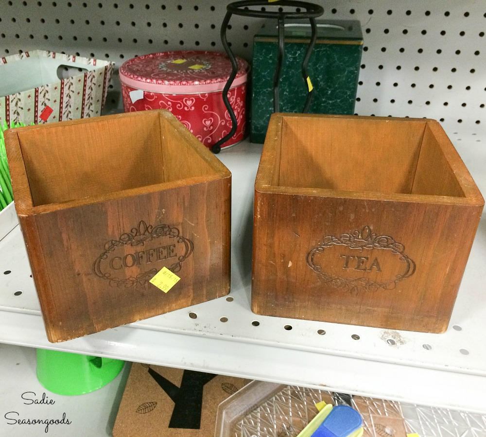 Tea and coffee canisters that do not have lids at the thrift store to become the gift boxes