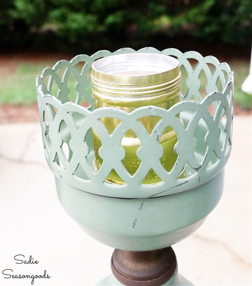 diy solar lights project with an old floor lamp