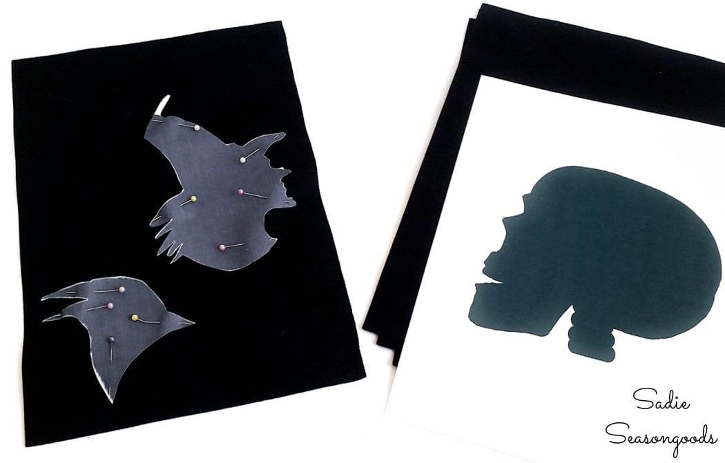 halloween window silhouettes on black felt