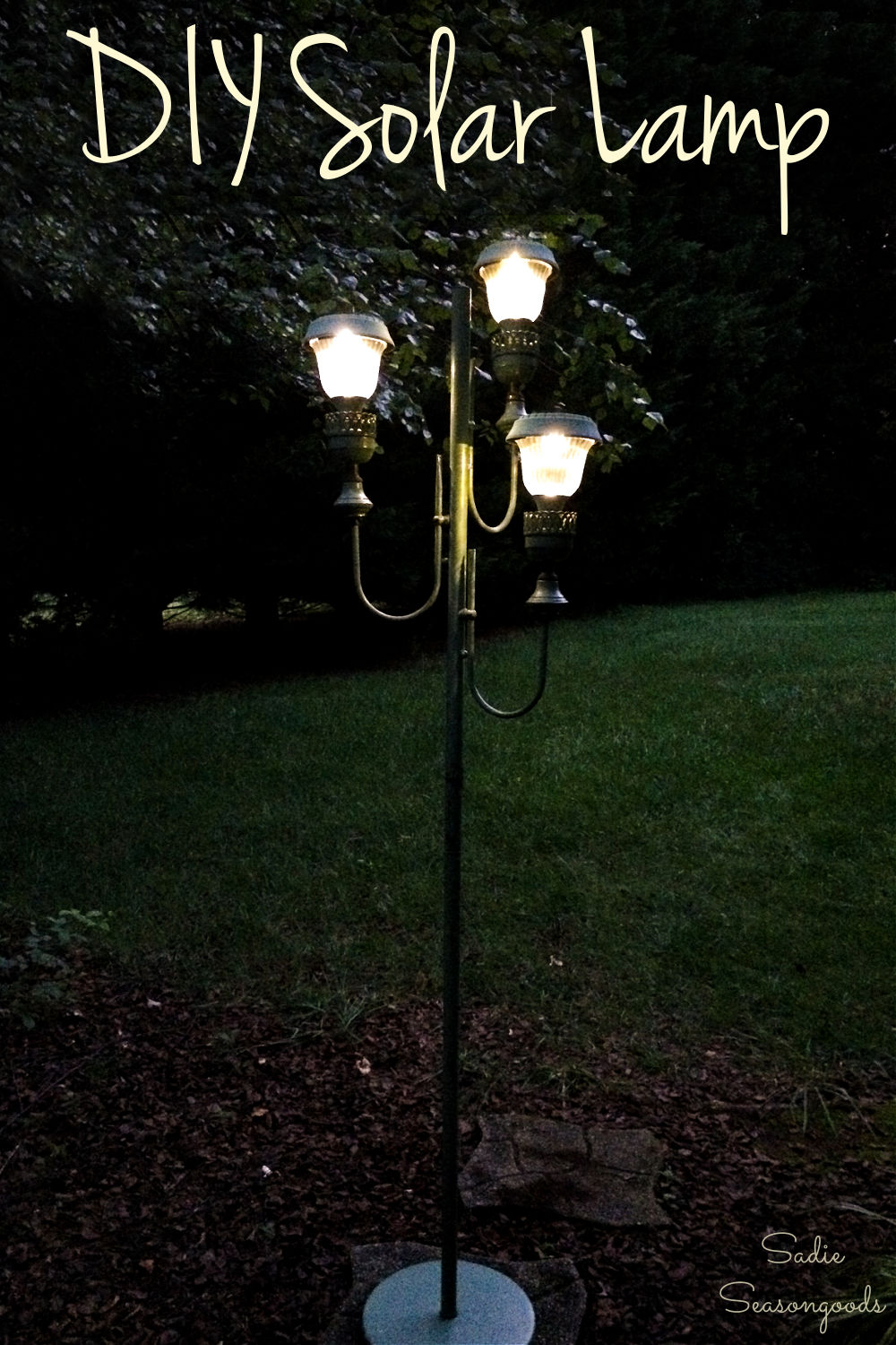 upcycled floor lamp with solar lights