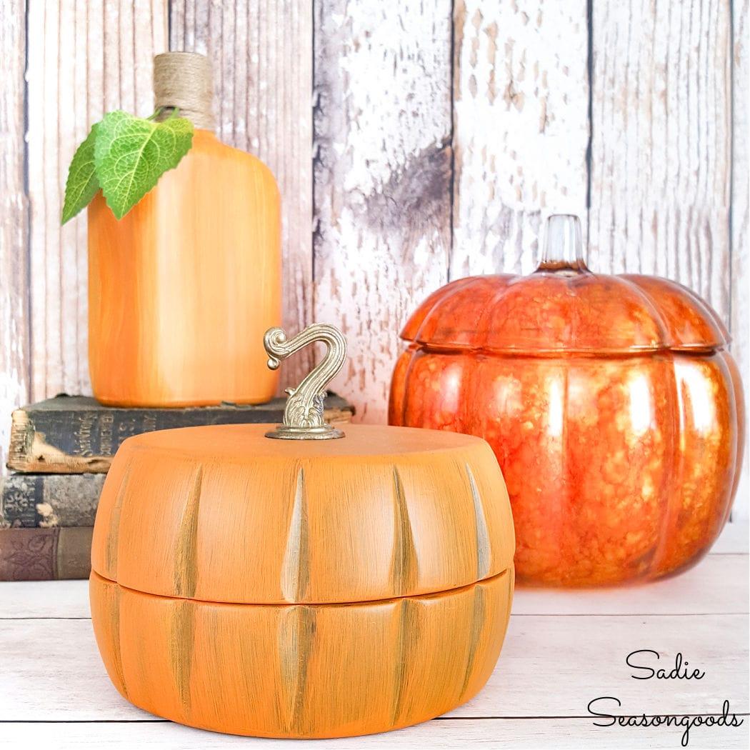 wooden pumpkin decor for fall and autumn