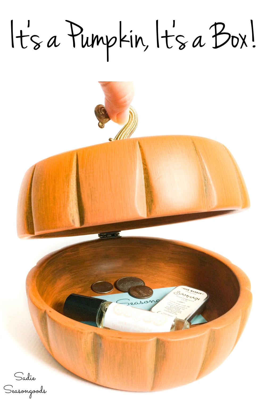 wooden pumpkin decor from vintage salad bowls
