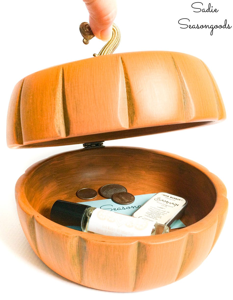 wooden trinket box that looks like a pumpkin