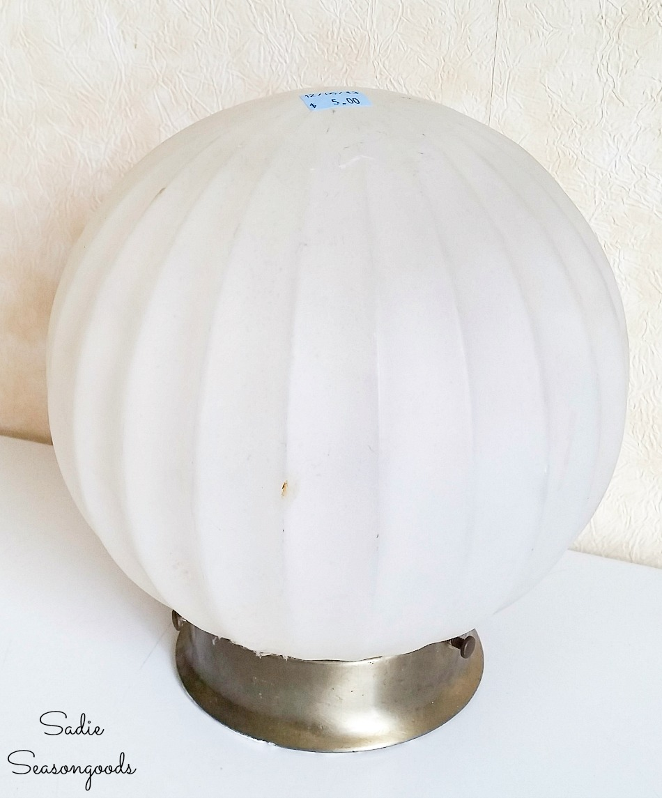 Glass globe light fixture for upcycling project