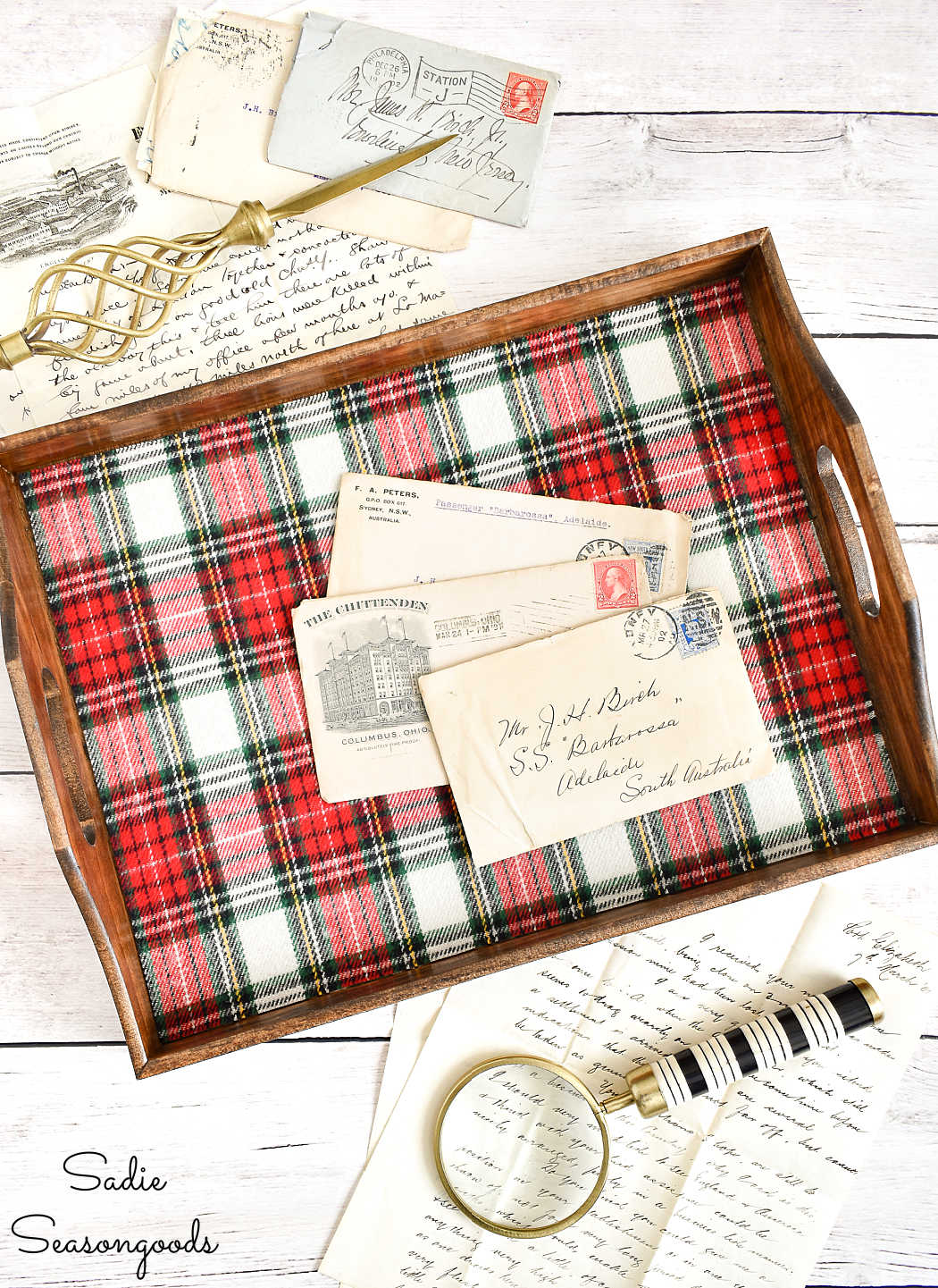 fabric lined tray from crafting with flannel