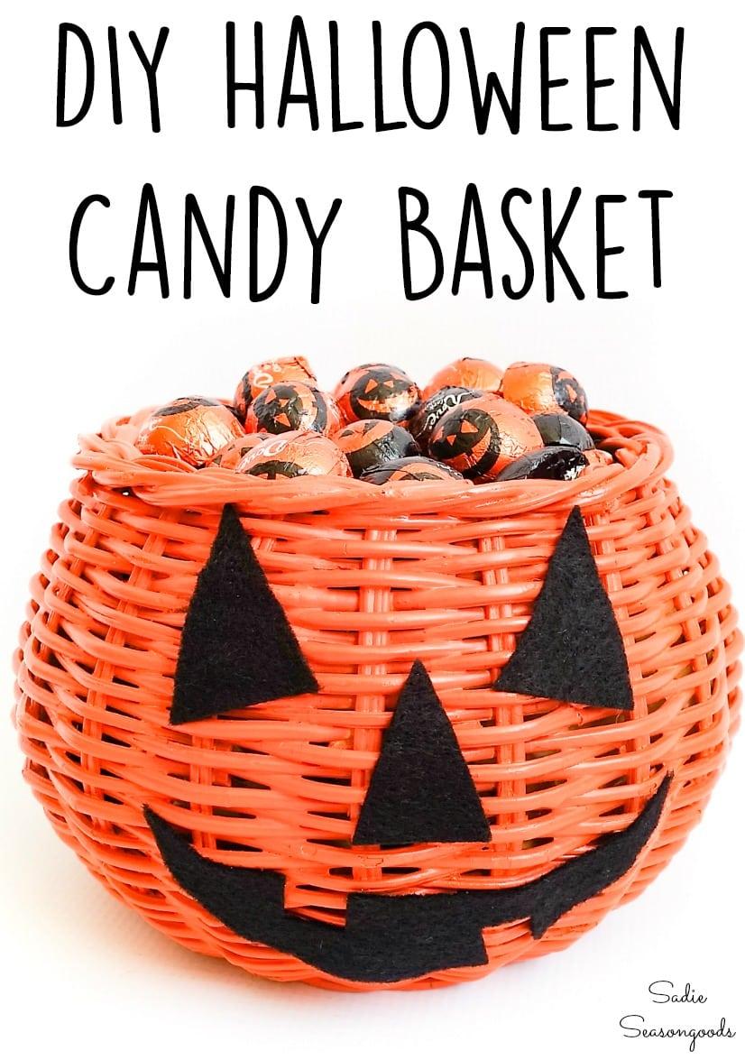 Halloween candy basket and DIY jack o lantern