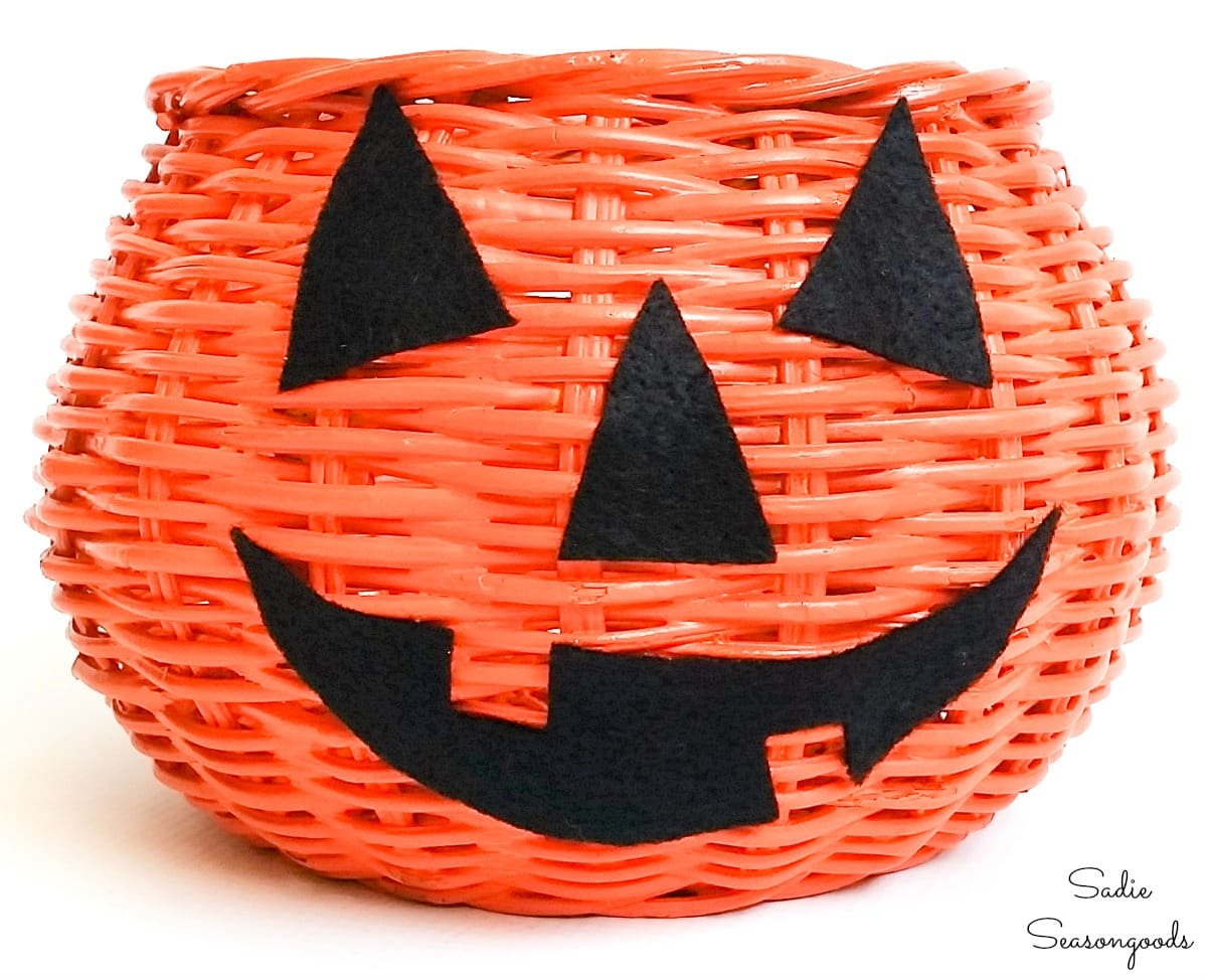 Jack o lantern basket to be filled with wrapped candy