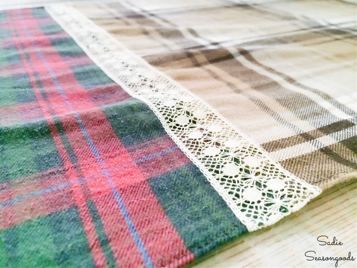 plaid table runner with lace ribbon