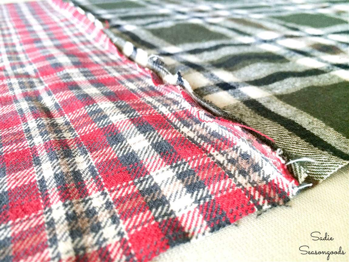 refashioning flannel shirts into a plaid table runner