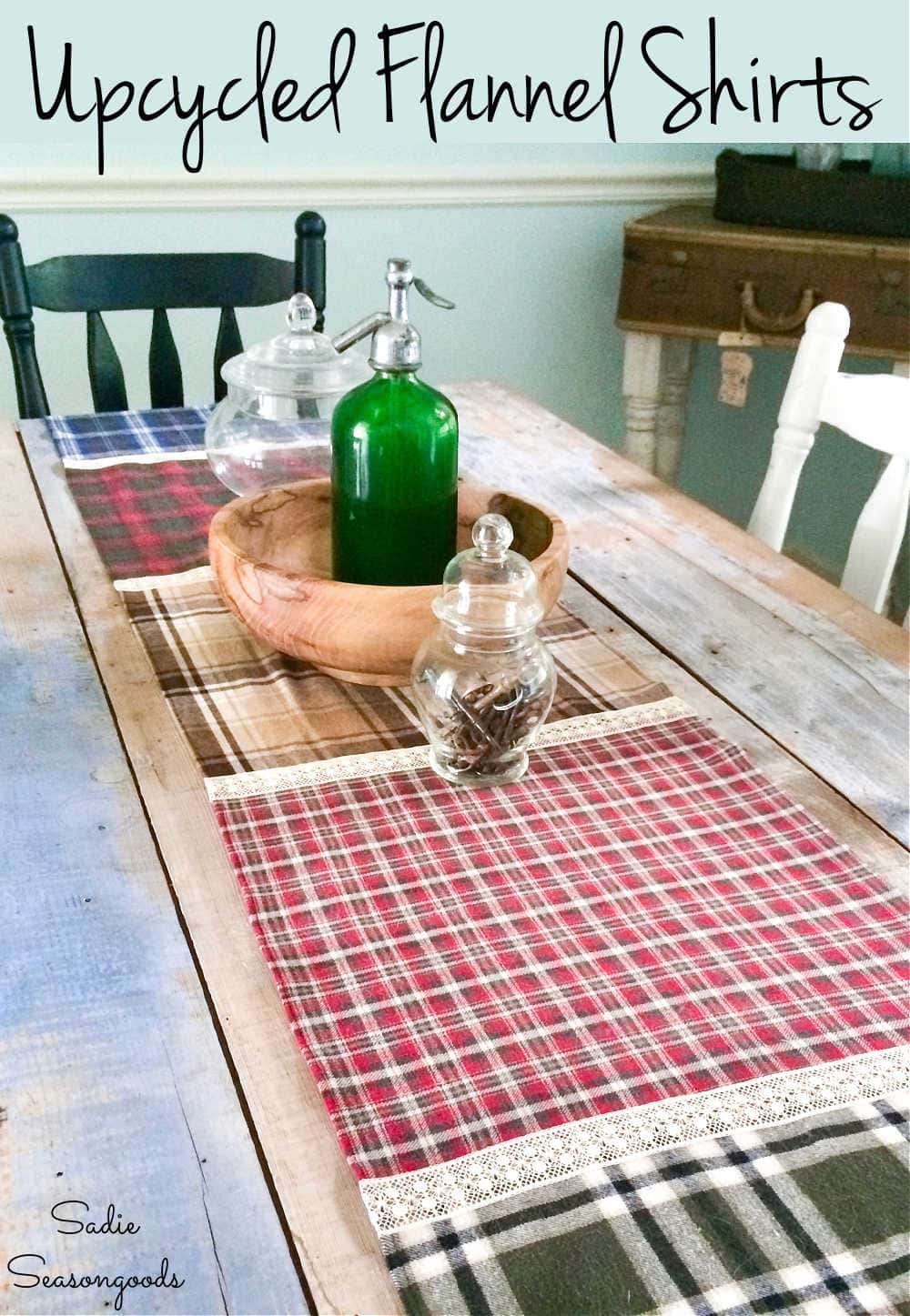 rustic table runner from fall flannels