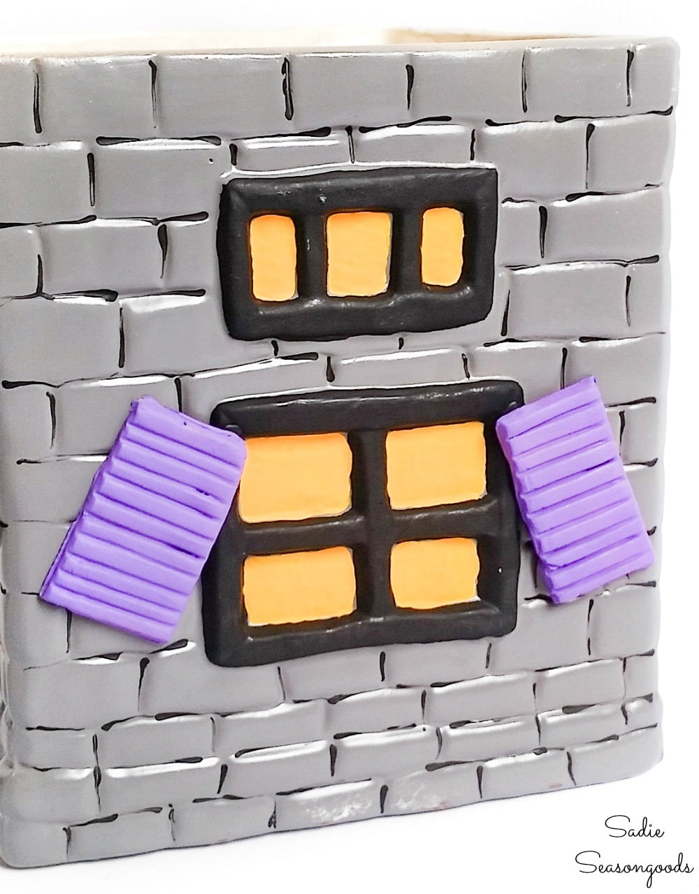 Shutters for a Halloween cookie jar from self drying clay