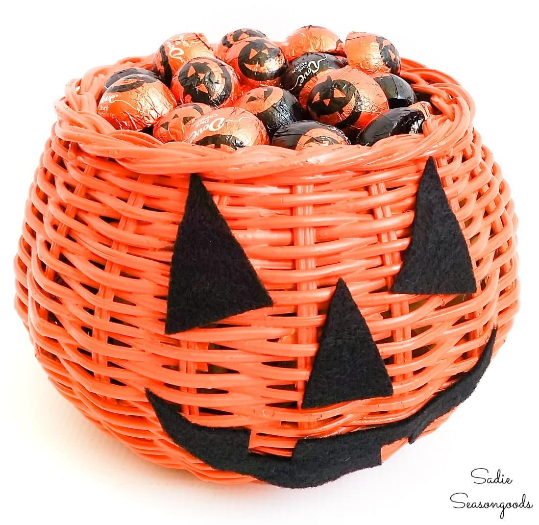 Turning a basket bowl into a Halloween candy basket