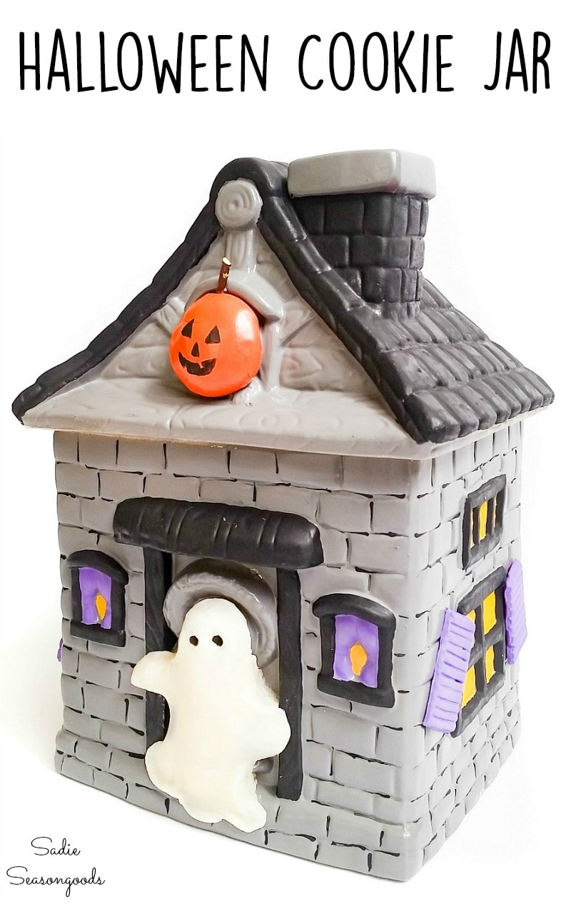 Upcycling a house cookie jar into a miniature haunted house