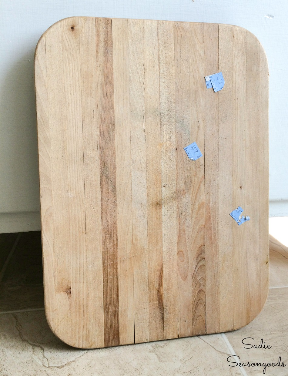 Sink cutting board to be upcycled as a farmhouse tray