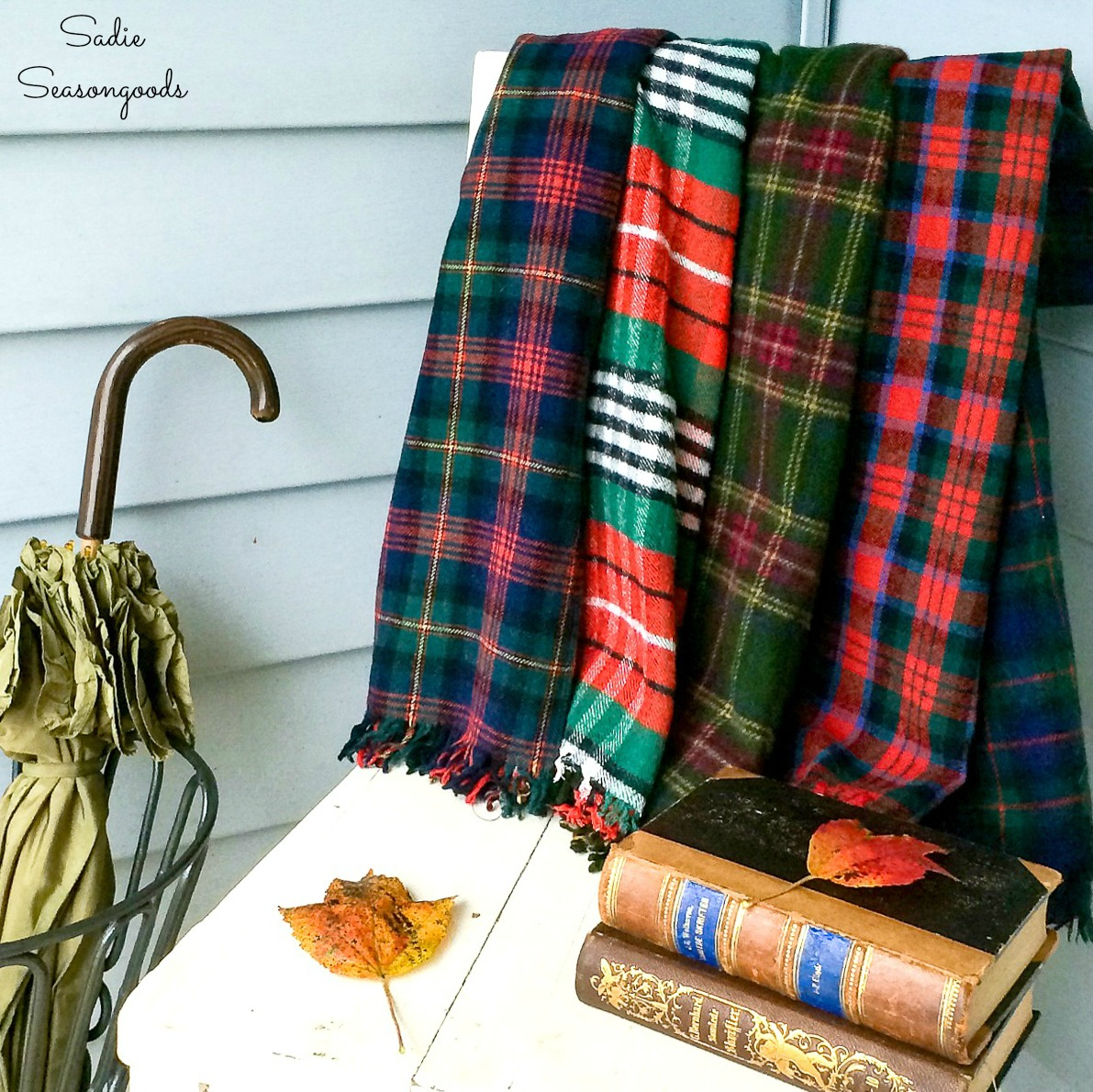 Plaid Blanket or Tartan Throw with Wool Scarves