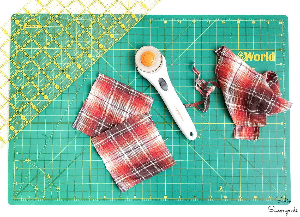Cutting out flannel squares for reusable hand warmers