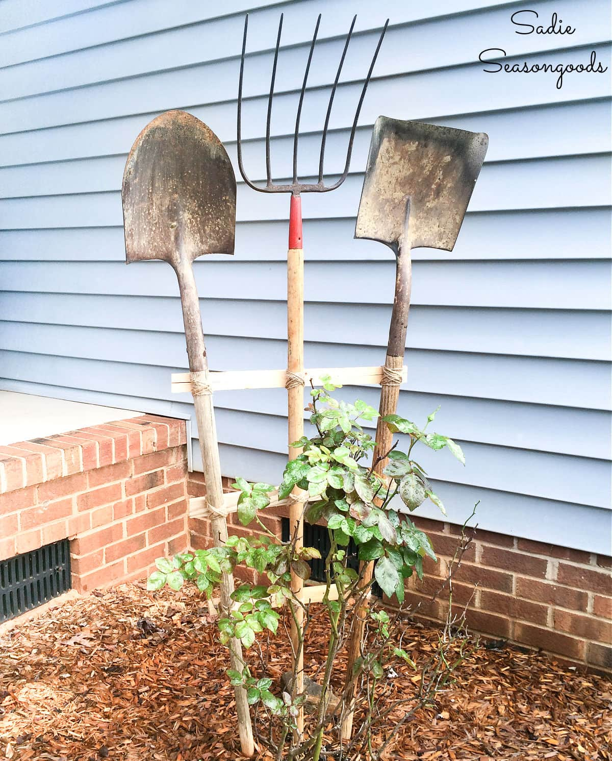 DIY Garden Trellis from Vintage Garden Tools