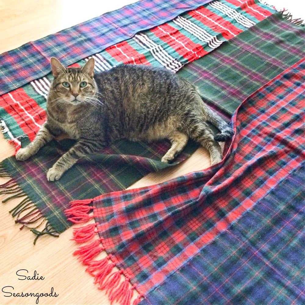 Making a plaid throw blanket