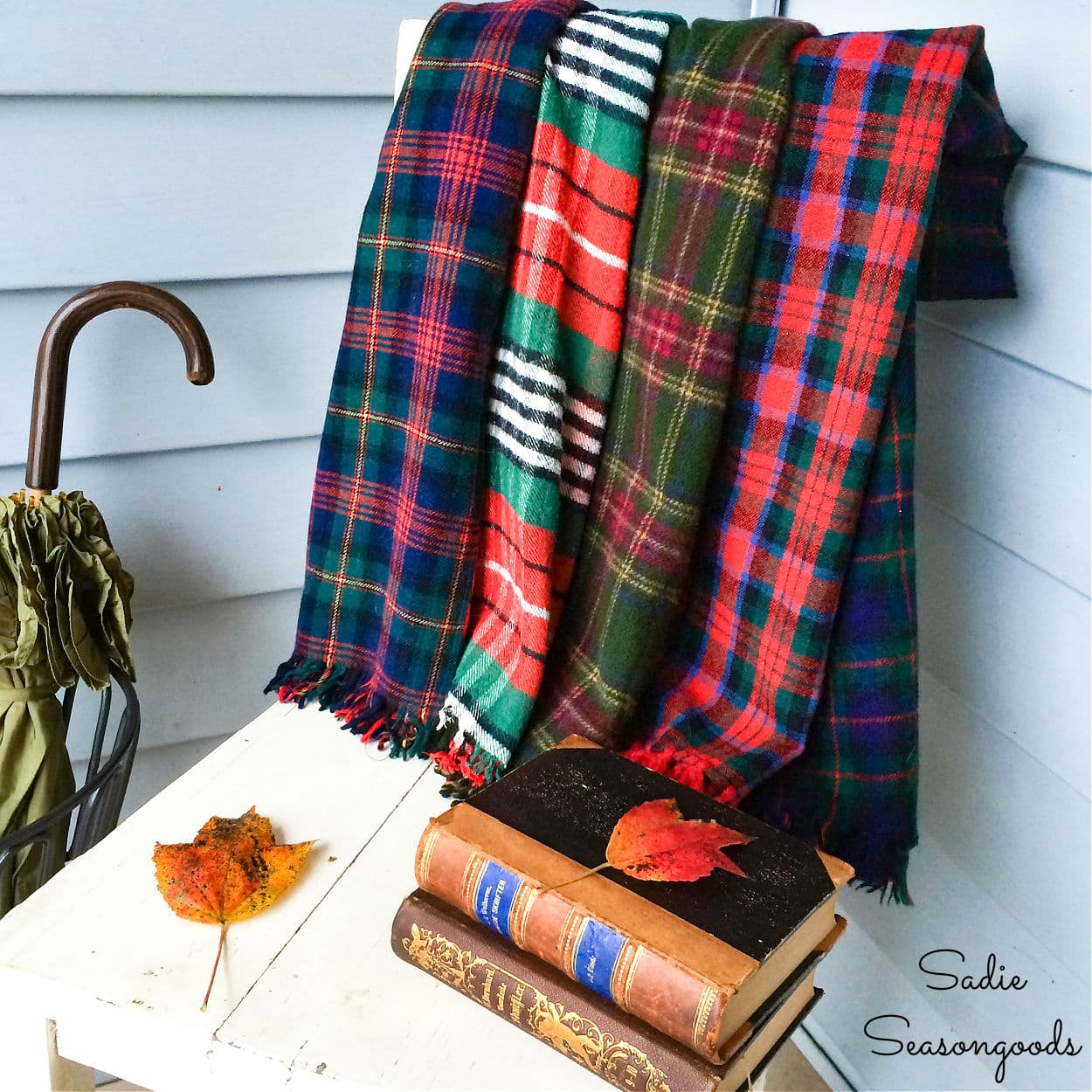 Plaid Throw Blanket from Wool Scarves