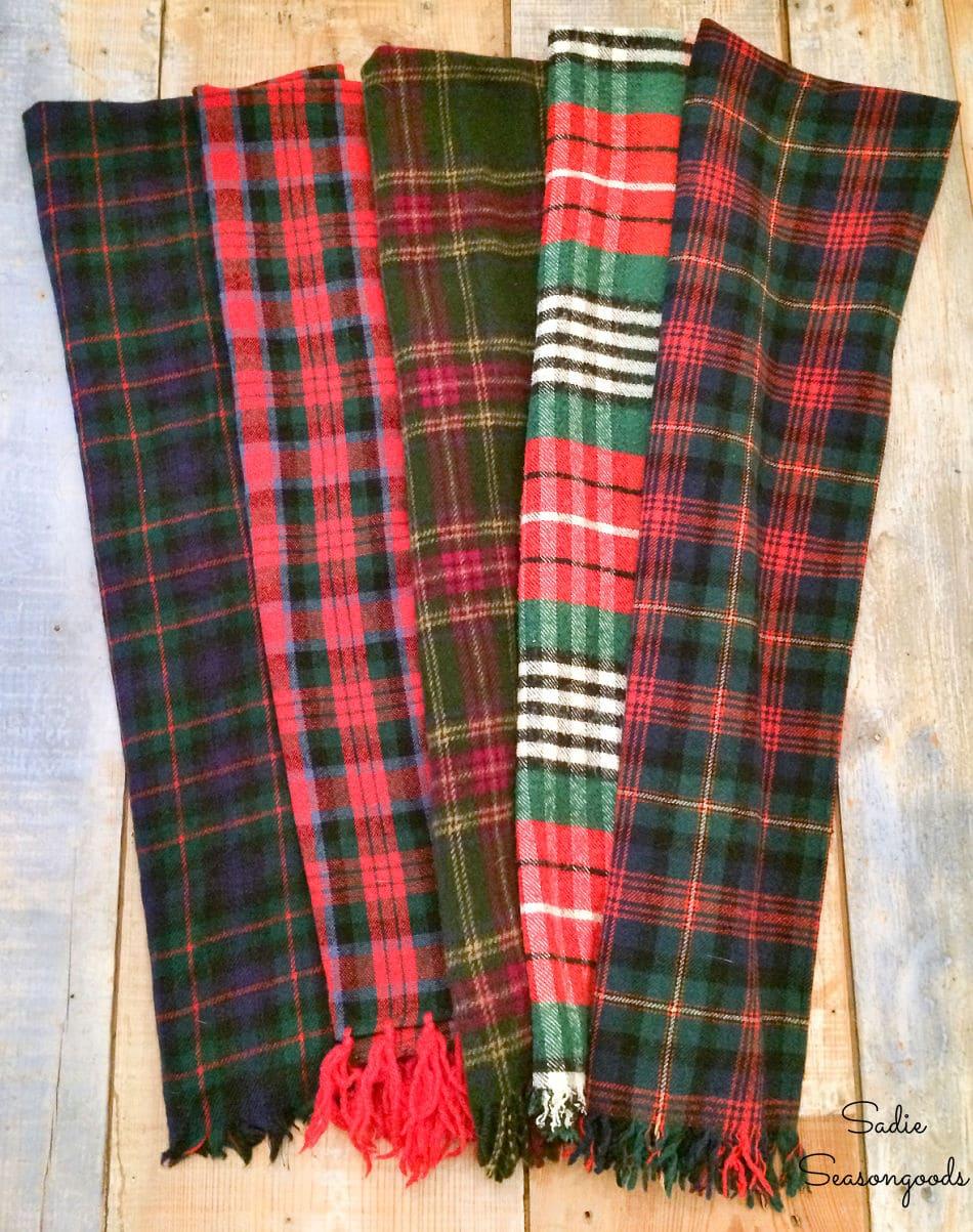 Plaid wool blanket from tartan scarves