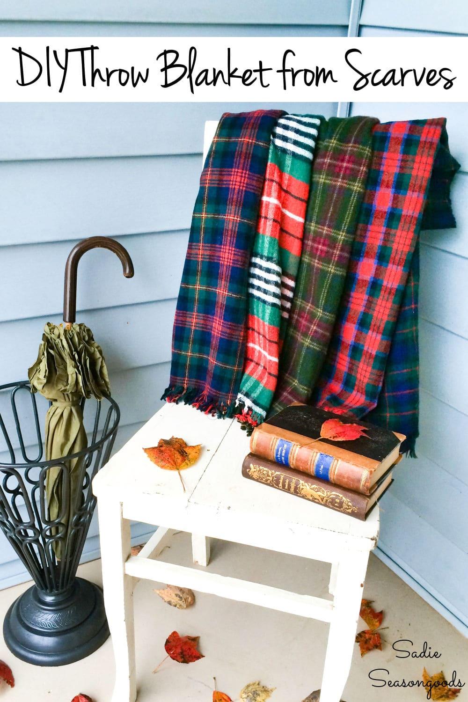 Plaid wool blanket from wool scarves