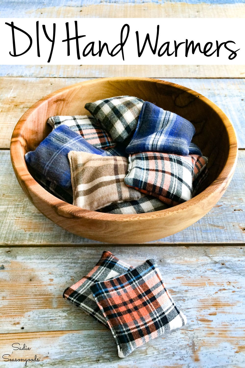 Reusable hand warmers from flannel shirts