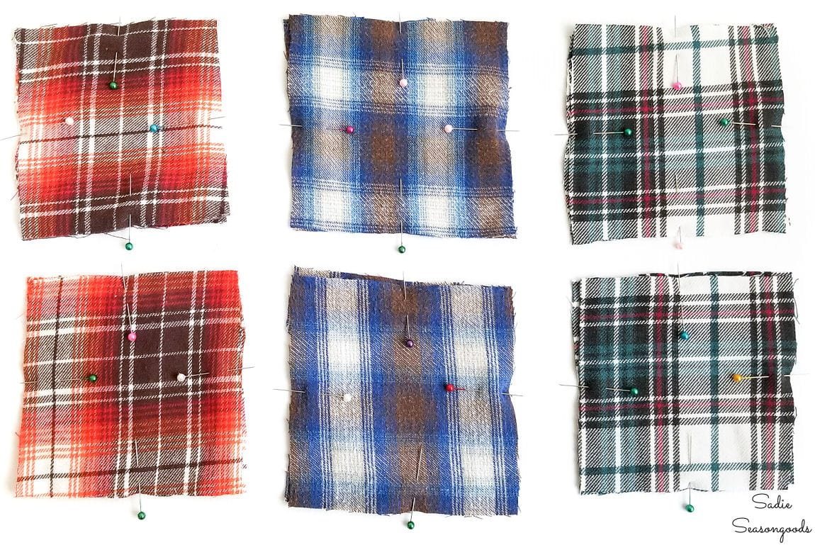 Squares of fabric from flannel shirts