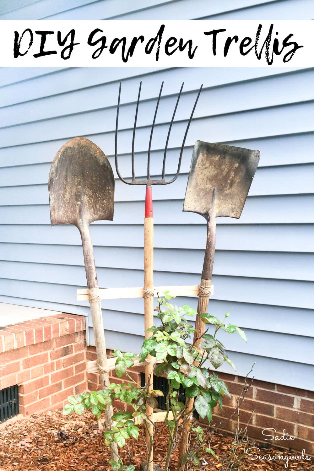 Vintage garden tools as a decorative trellis