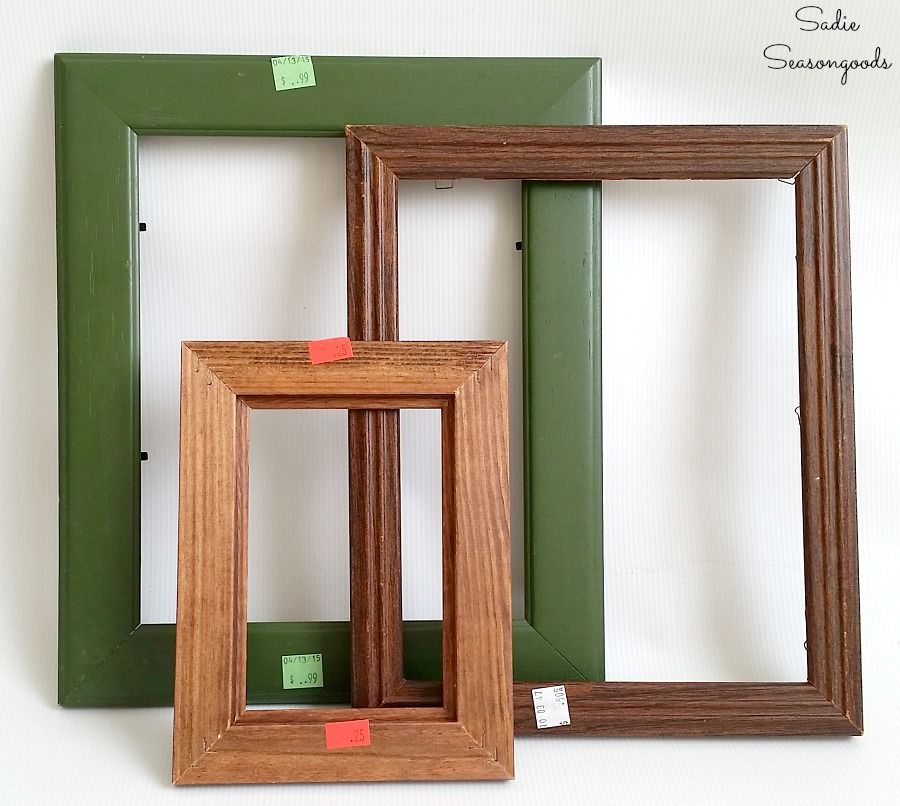 Picture frames and photo frames that are wooden and from the thrift store by Sadie Seasongoods