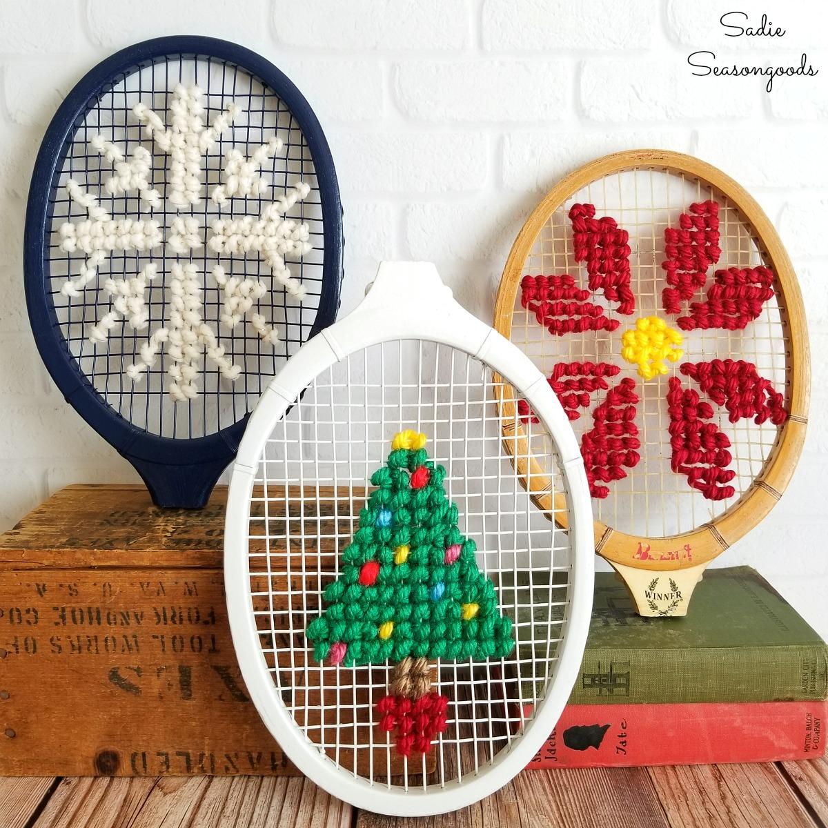 Christmas Cross Stitch on Vintage Tennis Rackets
