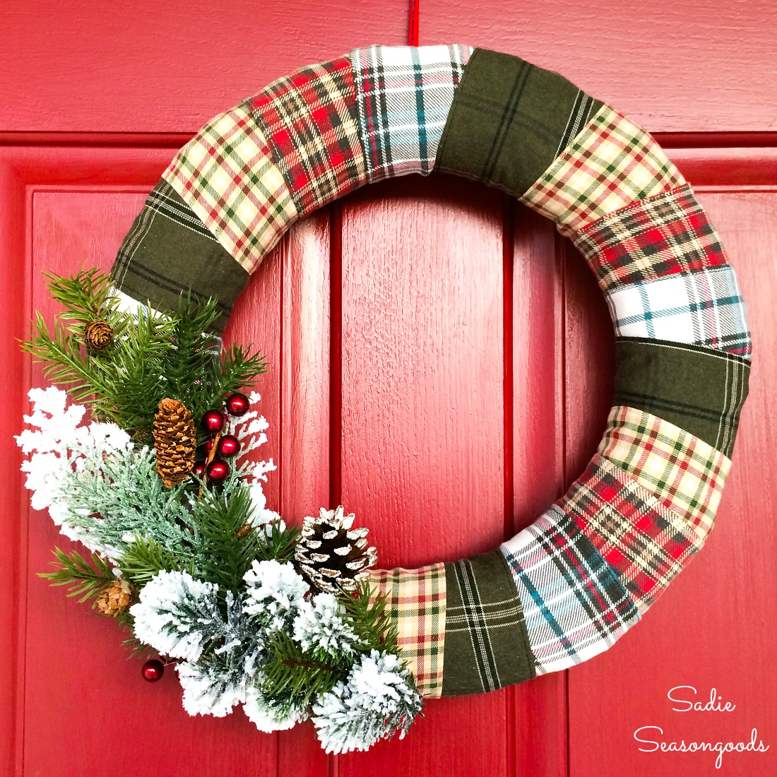 Upcycling the flannel fabric from used clothing to make rustic Christmas decorations for a Christmas cabin