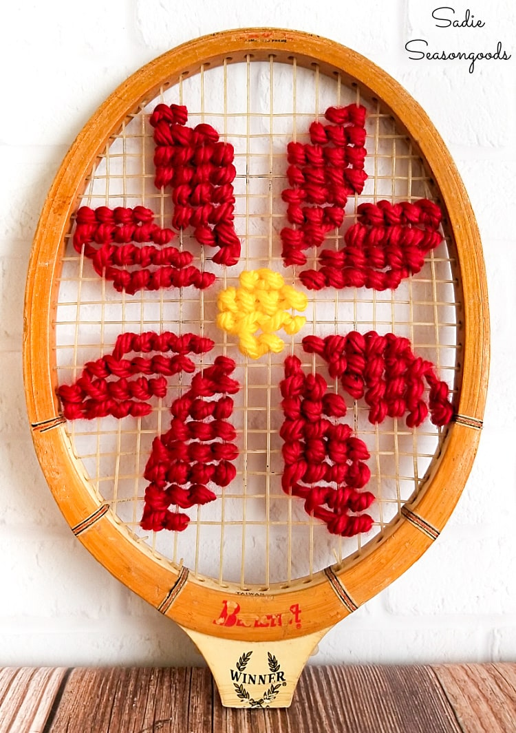 Christmas cross stitch pattern of a poinsettia