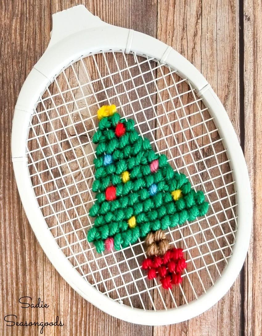 Christmas cross stitch pattern of a tree