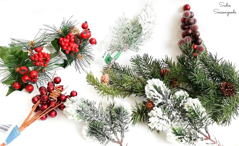 Christmas floral stems for a plaid Christmas wreath