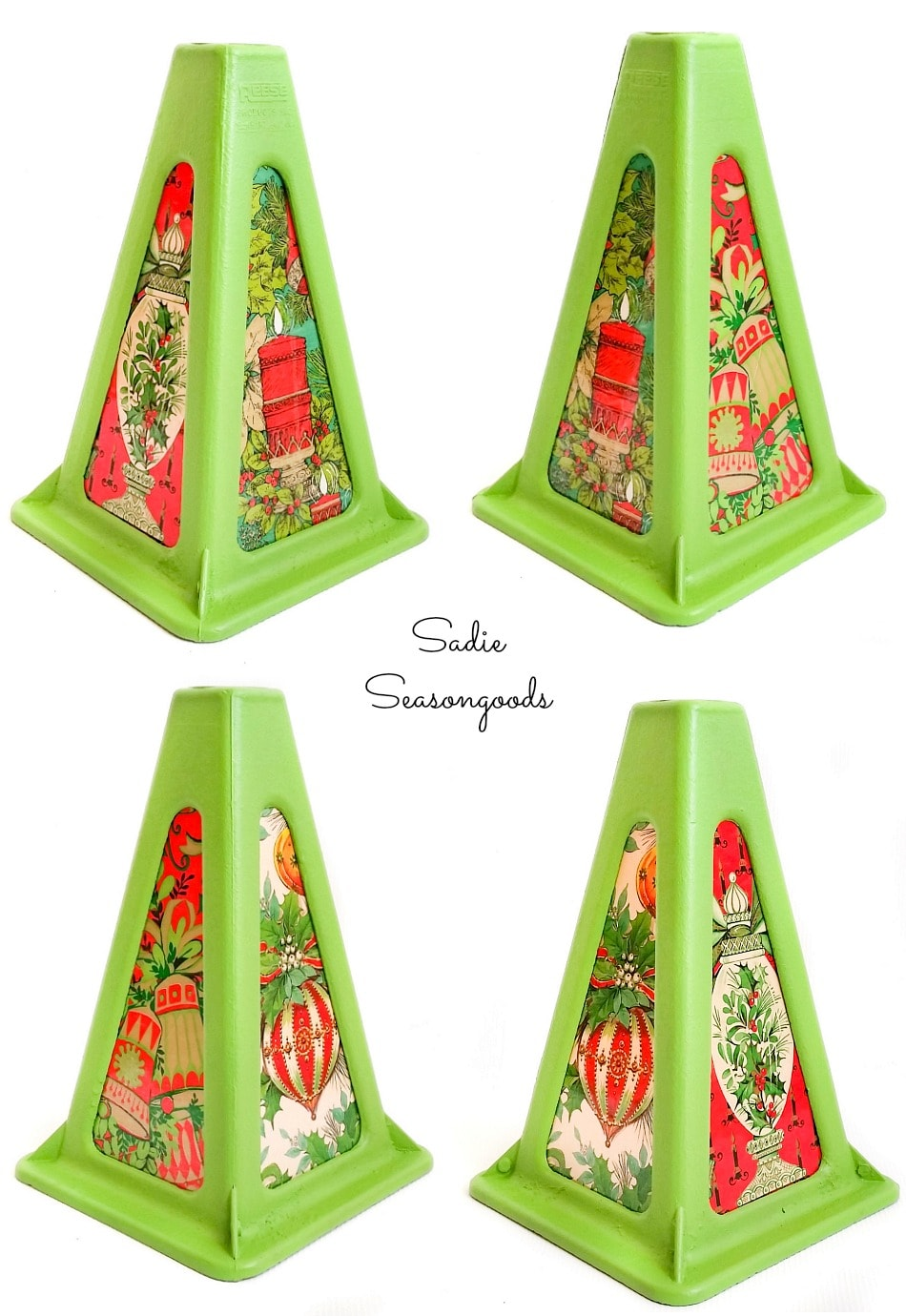 Christmas tree lantern with vintage Christmas wrapping paper