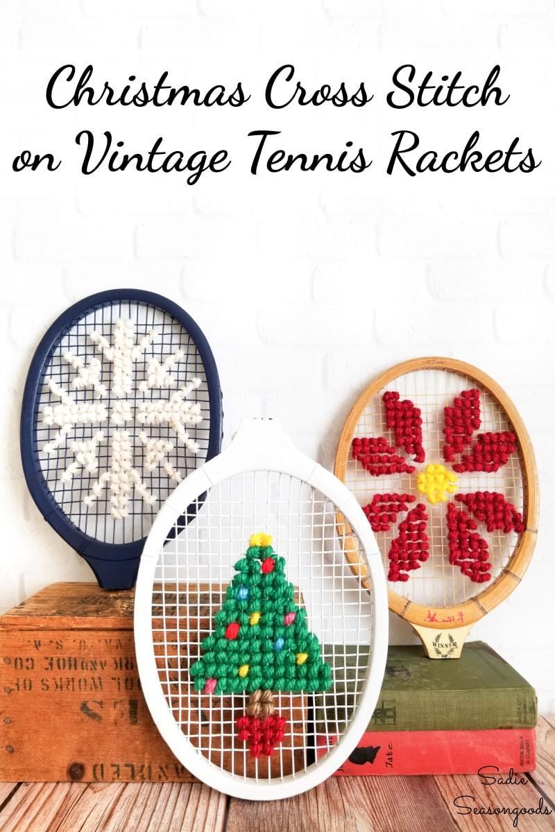 Jumbo cross stitch on a wooden tennis racket