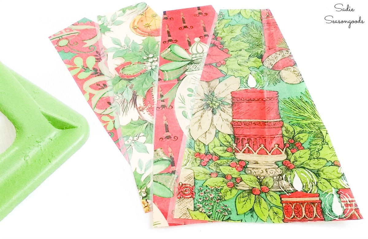 Lantern panels of vintage Christmas wrapping paper