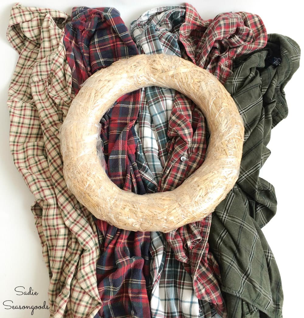 Making a plaid Christmas wreath with flannel shirts