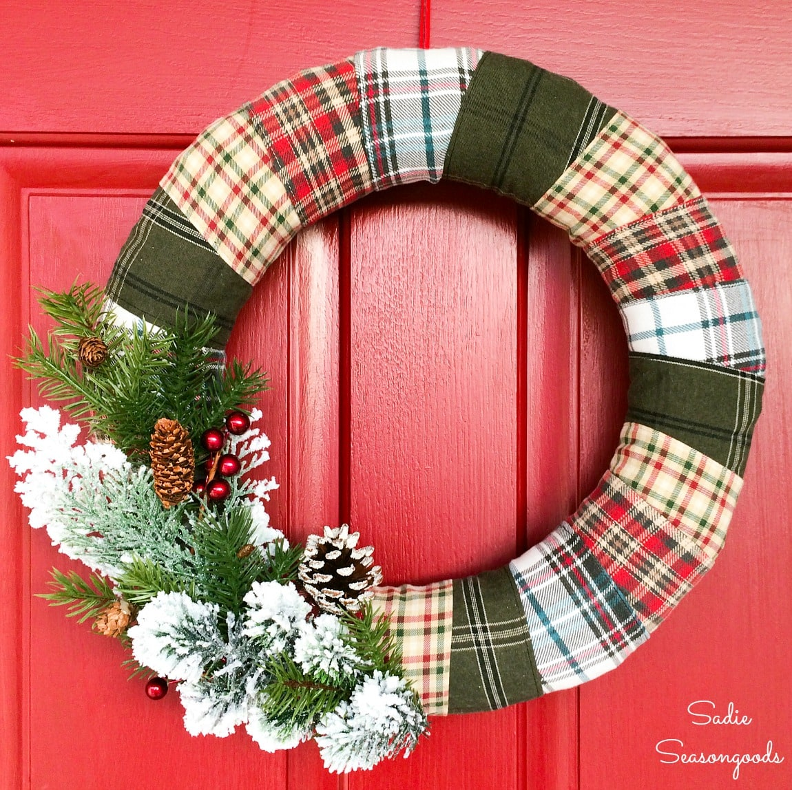 Plaid Christmas wreath from recycled flannel shirts