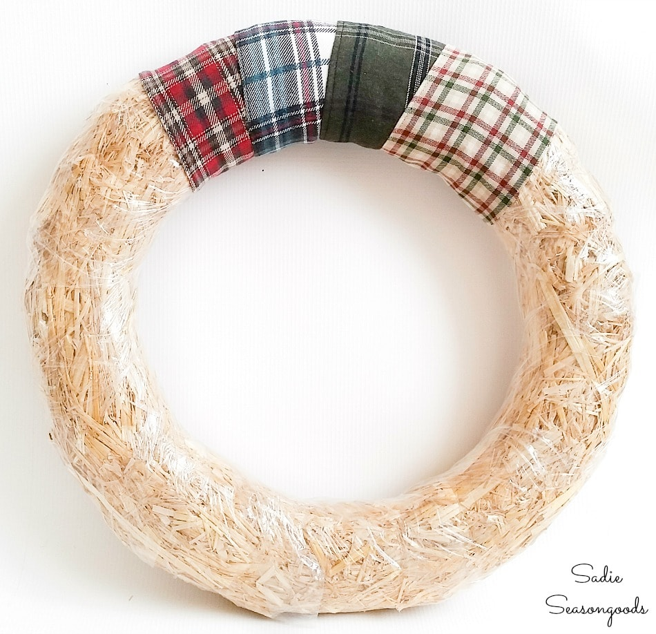 Recycling flannel shirts as a rustic Christmas wreath