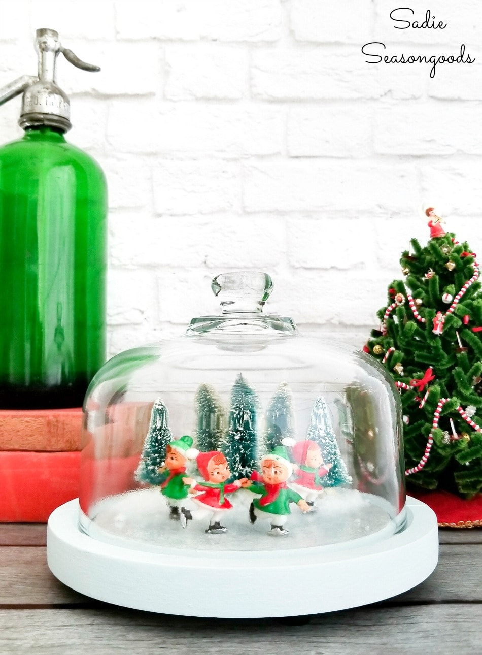 Upcycling a cheese dome to hold a Christmas winter scene