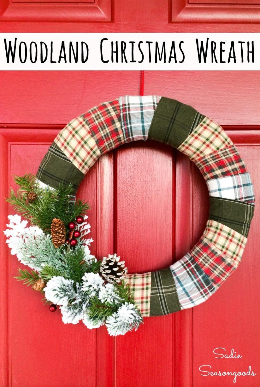 Upcycling flannel shirts for Christmas plaid decor