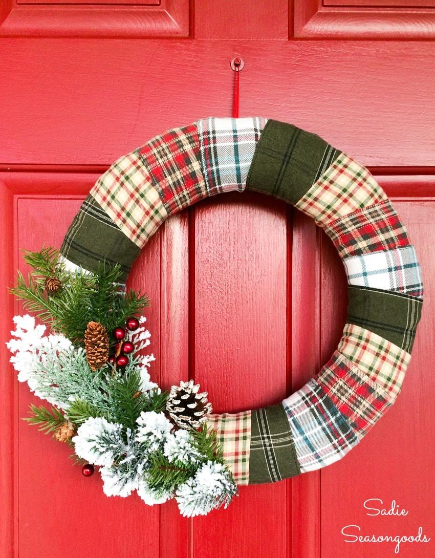 Woodland Christmas decor with a rustic Christmas wreath