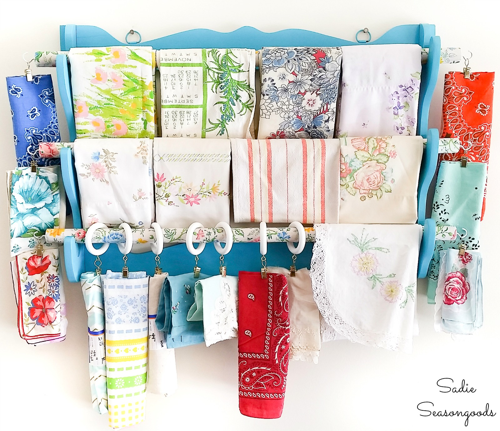 Fabric Organizer for Scrap Fabric with a Wooden Gun Rack
