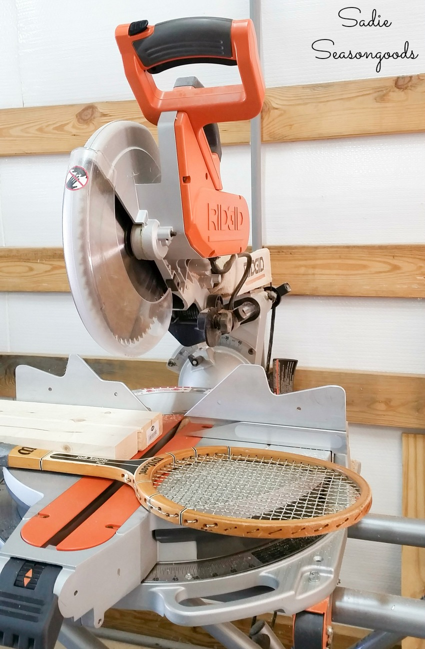 Rigid miter saw to cut wooden tennis rackets