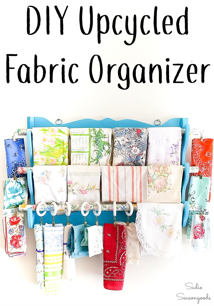 Upcycling a wooden gun rack as a fabric organizer for scrap fabric