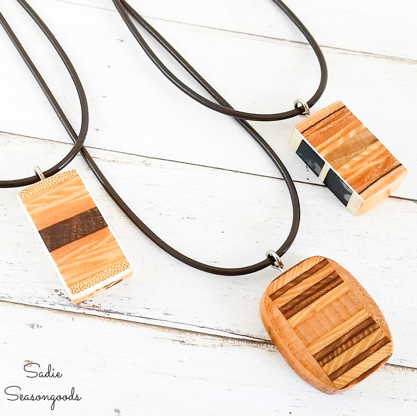 Wooden Pendant Necklace from a Vintage Tennis Racket