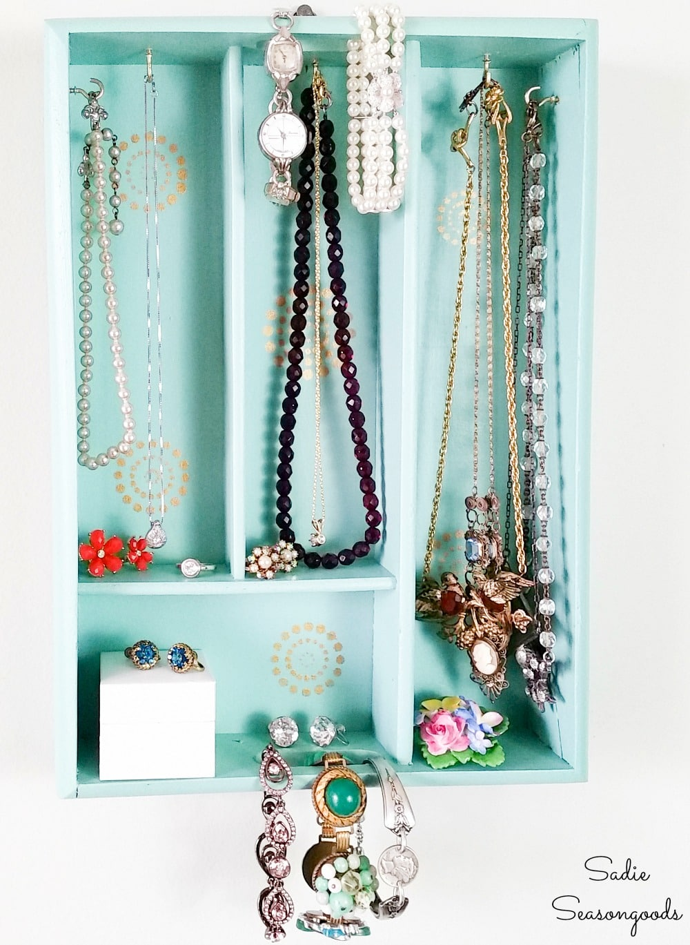 Boho Storage for Jewelry from a Silverware Tray