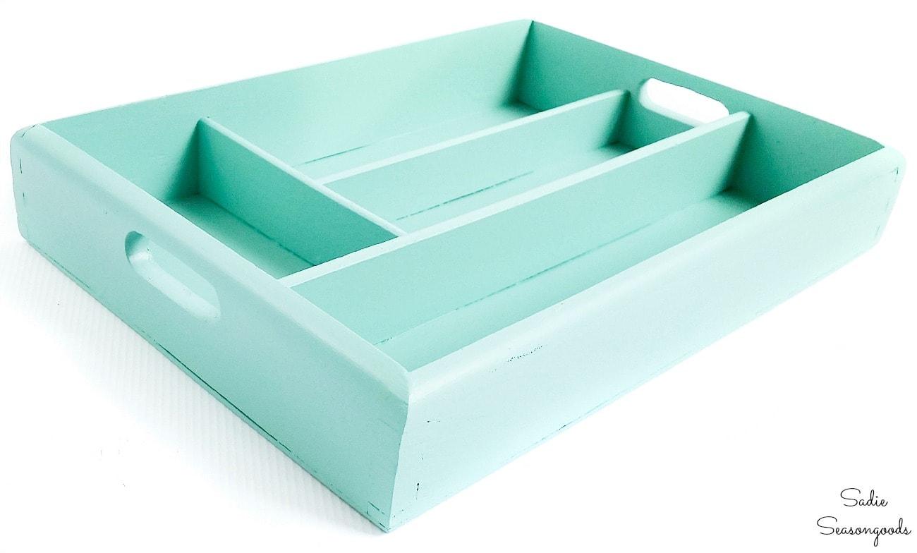 Upcycling a silverware tray as Boho storage